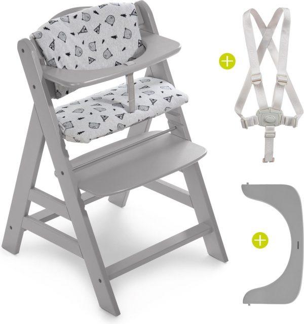 Hauck Alpha Plus Kinderstoel - Voordeelset met Premium Kussenset - Grijs / Nordic Grey