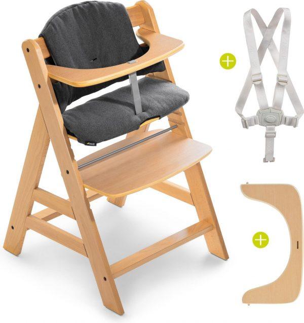 Hauck Alpha Plus Kinderstoel - Voordeelset met Premium Kussenset - Hout / Jersey Charcoal