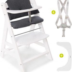 Hauck Alpha Plus Kinderstoel - Voordeelset met Premium Kussenset - Wit / Jersey Charcoal