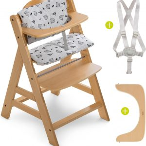 Hauck Alpha Plus Kinderstoel - Voordeelset met Premium kussenset - Hout / Nordic Grey