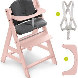 Hauck Alpha Plus Kinderstoel - Voordeelset met Premium kussenset - Roze / Jersey Charcoal