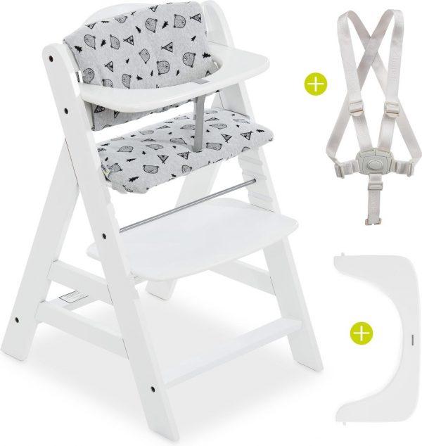 Hauck Alpha Plus Kinderstoel - Voordeelset met Premium kussenset - Wit / Nordic Grey