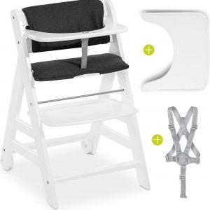 Hauck Kinderstoel Beta Plus - Met Eettafeltje, Kussenset en Veiligheidsbeugel - Wit