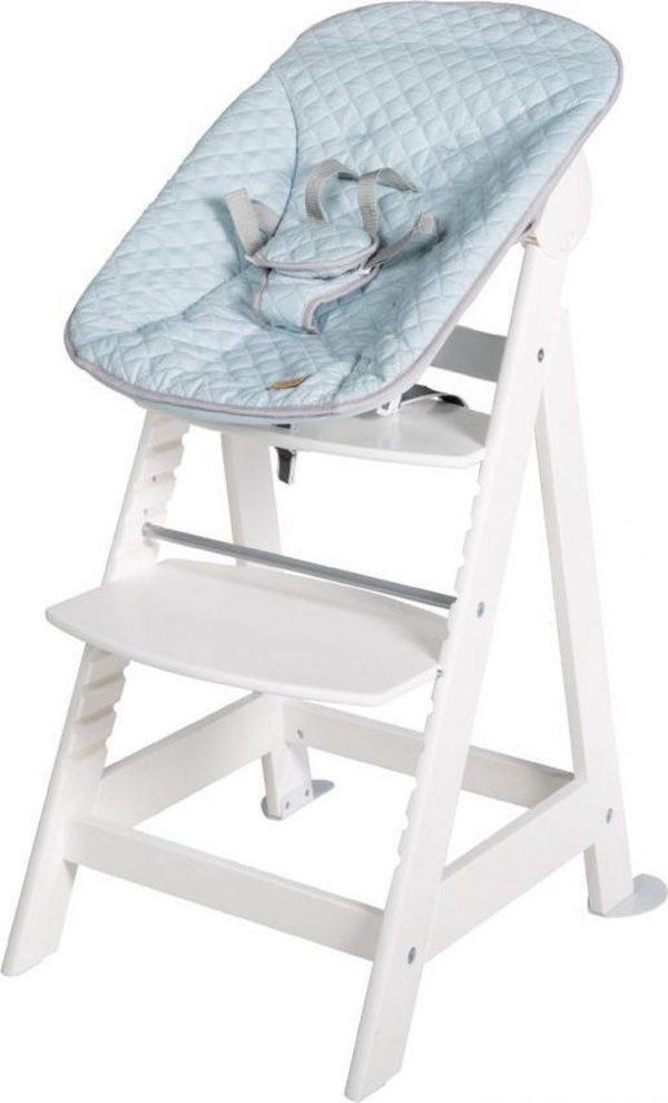 roba kinderstoel Born Up wit Set 2 in 1 incl. turquoise stijl opzetstuk