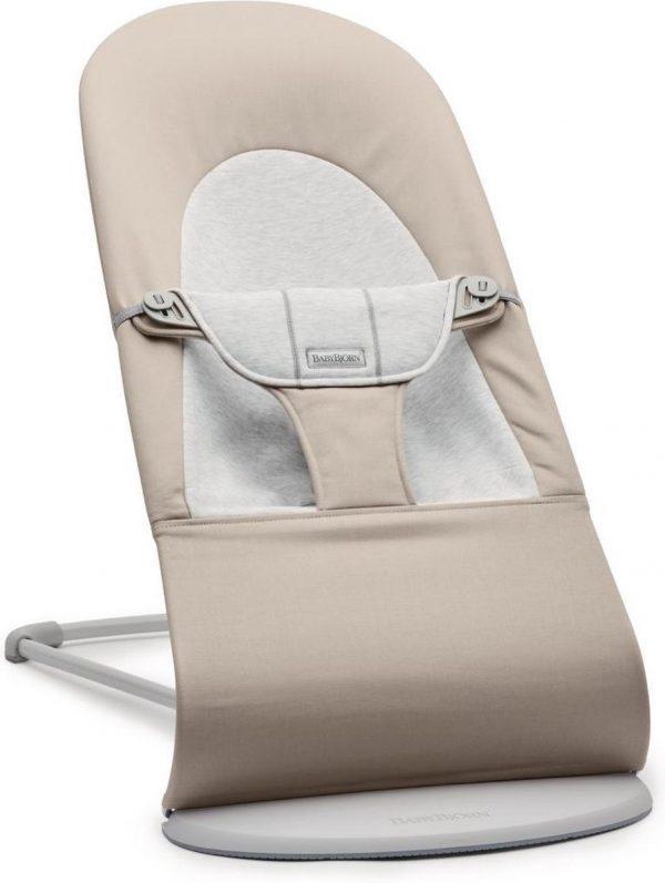 BABYBJÖRN Wipstoel Balance Soft - Lichtgrijs frame - Beige-Grijs Cotton-Jersey