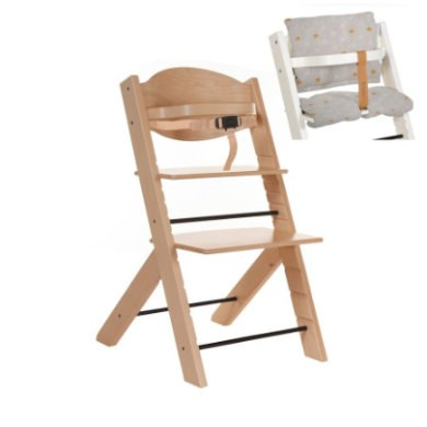 Treppy® Kinderstoel natuur + gratis zitkussen Stars