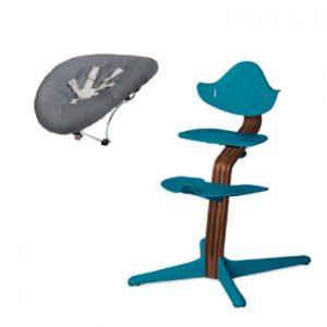 nomi by evomove Kinderstoel Complete Set met wipstoel walnoot/ocean